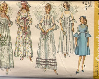 1970 sewing pattern Simplicity 9218 misses bridesmaids' dress and Wedding dress size 12 bust 34