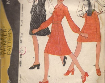 1972 Sewing Pattern McCall's 3118 Misses blouse, vest and skirt size 16 bust 38
