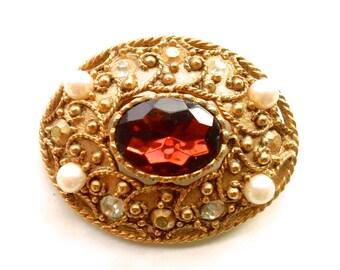 Topaz Glass & Faux Pearl Broochl Vintage Retro Fashion Party Jewelry