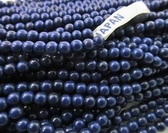 140 Vintage 3.5mm Navy Blue Plastic Beads Bd929