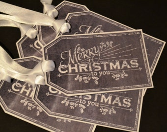 Chalkboard style Christmas Gift Tags - Merry Christmas