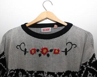 Vintage slouchy flowers black grey sweater
