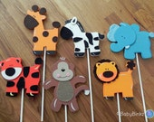 Jungle Animal Shapes - Cake Toppers or Party Decorations monkey giraffe lion elephant tiger zebra baby shower birthday party