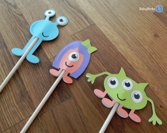 Cupcake Toppers: Cute Die Cut Monster Cupcake Toppers - Baby Shower or Kids Birthday Party Decorations