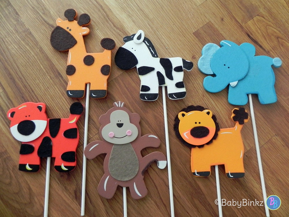 Jungle Animal Shapes Cake Toppers Or Party Decorations