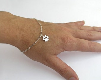 Paw Print Bracelet - Sterling Silver Paw Charm - Cat and Dog Paw - Animal Lover Gift