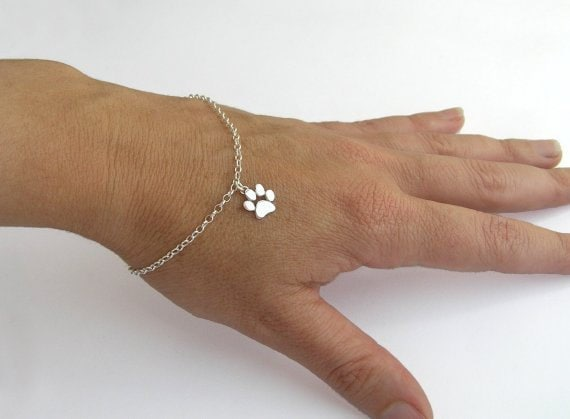 Paw Print Bracelet Sterling Silver Paw Charm Cat And Dog