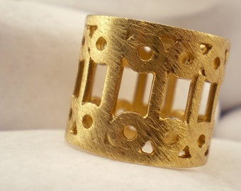 """Gold Plated Solid Sterling Silver Band Ring - """"Lace"""""""