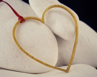 """Gold Plated Solid Sterling Silver Pendant - """"Outlined Heart"""""""