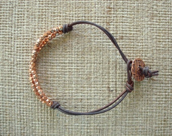 Men's Bracelet: Genuine Black/Brown Leather, Copper Beads from Africa