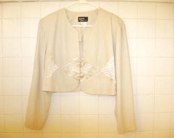 1980s - Jacket - Champagne - Beige - Size 20W - Dawn Joy Fashions - Cream - Diamond - Dressy - Womans