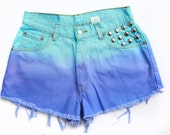 SALE! Vintage High Waisted Dyed and Studded Levi Denim Shorts