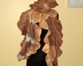 Felted Art scarf  shawl long beige brown white