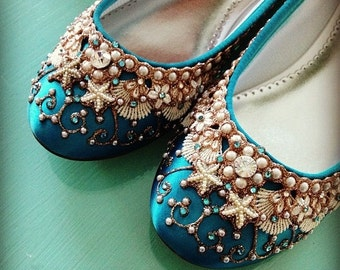 Mermaid's Slipper Bridal Ballet Flats Wedding Shoes - Any Size - Pick your own shoe color and crystal color