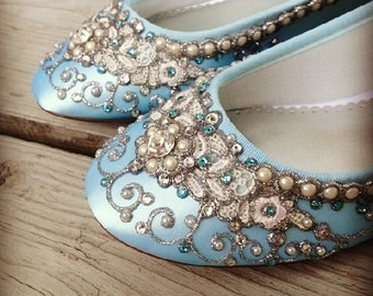 Wedding Shoes - Fairy Tale Inspired Closed Toe Flats - Lace, Crystals and Pearls - Blue/White/Ivory/Custom Colors