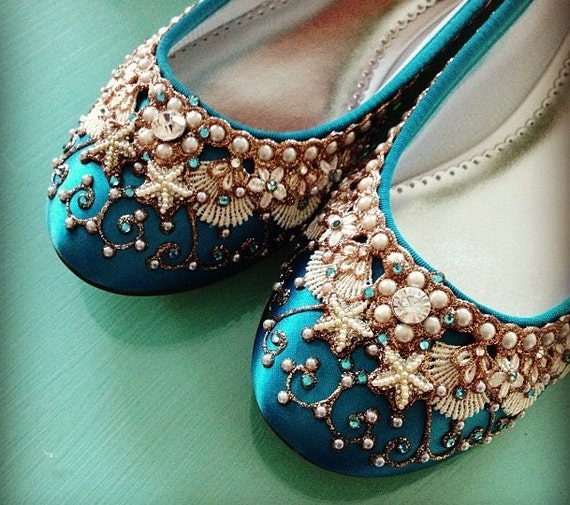 Personalized Wedding Slippers Bridal Party Slippers: Items Similar To Mermaid's Slipper Bridal Ballet Flats