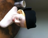 """WWII Hat 1940's Military Inspired Black Wool Felt, """"Veronica"""""""