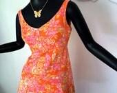 Groovy Vintage 70s OWL Mini Dress 1970s MOD Hippie Hippy Boho Dress Orange Pink Yellow All Cotton Sleeveless Summer Hawaiian Dress Small