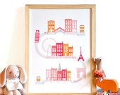 Let's Go On an Adventure Art Print - personalized modern nursery wall art . pink orange children decor