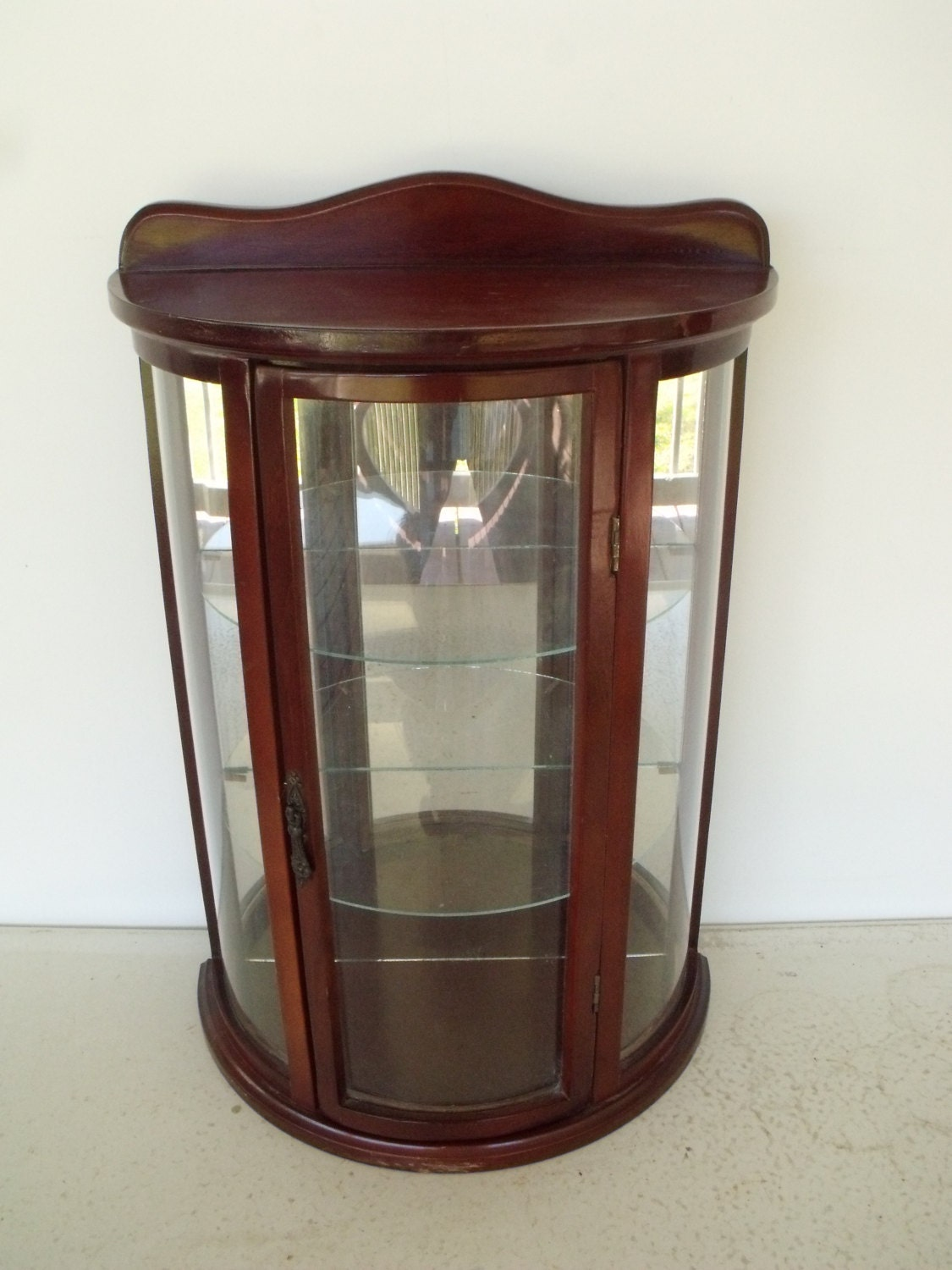 Display Case Wood Glass Curio Cabinet Wall Mount Or Table Top