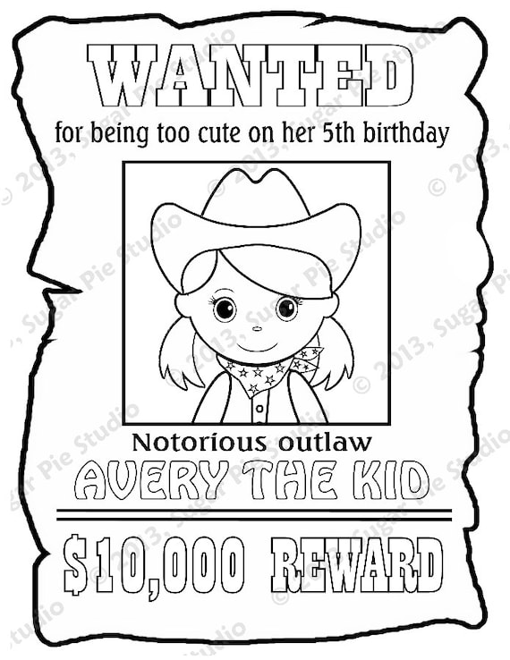customizable coloring pages - personalized printable wanted cowgirl poster by sugarpiestudio