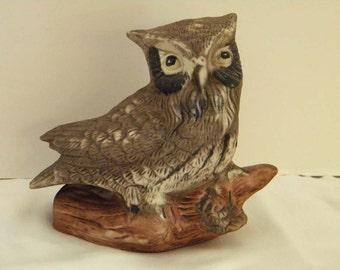 Vintage Light Brown Owl On Log