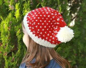 Kid's Christmas Knit Hat in Red and Cream with Pom Pom - Girl's Beanie - Children Accessories - Fall Winter Fashion - Slouchy Beret - Beani