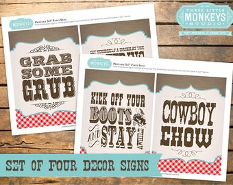 Set of Four 5x7 Vintage Cowboy Party Signs