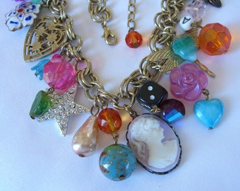 Graziano Necklace with Vintage Charms, Art Glass Beads, Cloisonne, Faux Pearl, Cameo