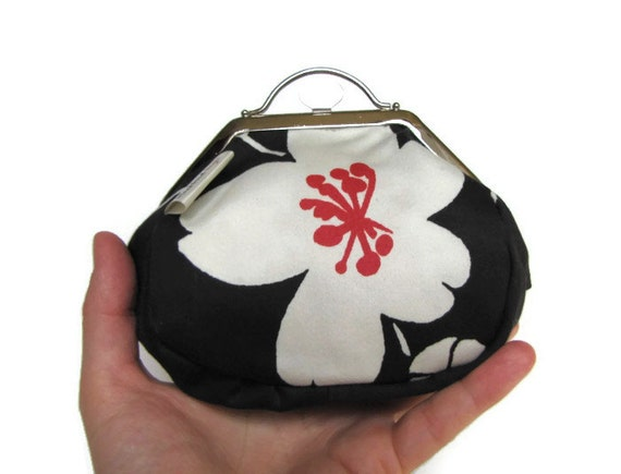 Metal frame purse with big white flower, coin purse - made from Spanish tapestry - Unique, one of a kind