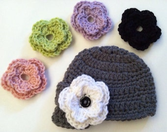 Newsboy Hat with Five Interchangeable Flowers in Newborn, Toddler and Child Sizes