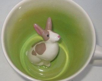 Brown Spotted  Rabbit Surprise Mug (Made to Order)