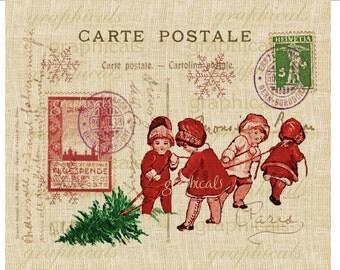 Christmas Paris Carte Postale Children red green instant digital download image for iron on fabric transfer burlap decoupage Item No.1889