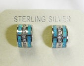 Designer Opal and White Topaz Earrings - Sterling Silver - Alexander Kalifano - Vintage