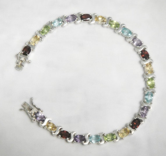 Multi Colored Gemstone Tennis Bracelet Genuine Gems Solid