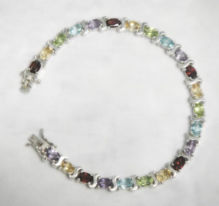 multi colored gemstone tennis bracelet genuine gems solid