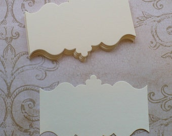 24 Sizzix Ornate 8 - Die Cut pieces made from Sizzix die cut from Cream cardstock paper for DIY Wedding Tags Labels Crafts Cards