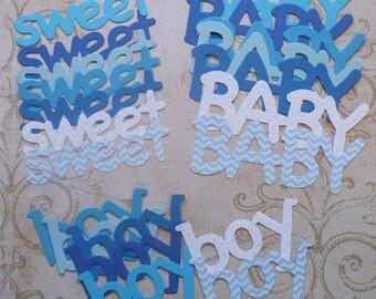 Sweet Baby Boy Die Cut Shapes from Blues Cardstock words polka dot Chevron Print