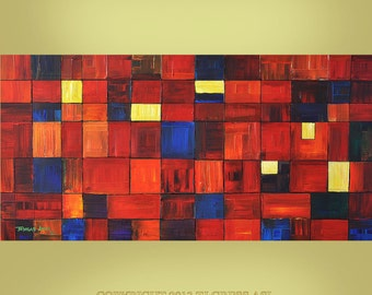 ORIGINAL ABSTRACT Painting Large Impasto 24X48 Fine Art  By Thomas John