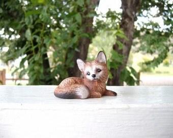 Fox, miniature ceramic fox