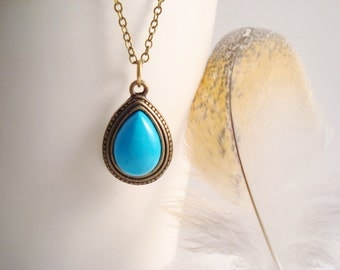 Teardrop Turquoise Necklace, Vintage Style Necklace, Turquoise Magnesite Jewelry, Antique Bronze Turquoise Jewelry, Chunky Turquoise Jewelry