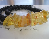 ARIADNE - Fire and Earth, Natural Amber and Lava Beaded Necklace, Sterling Silver, Organic, Modern, Statement Necklace