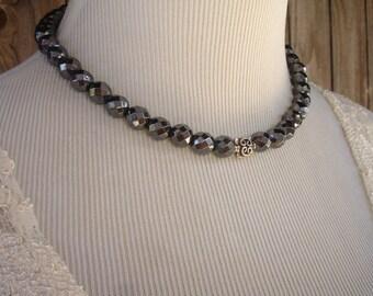 Hematite and Bali Sterling Silver Necklace, Modern, Elegant