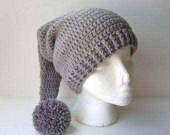Crochet Stocking Hat, Adult Stocking Cap in Steel Gray for Men or Women
