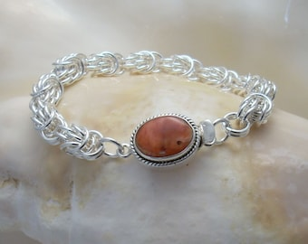 Bracelet: Coral Box Clasp on an Argentium Silver Handmade Chainmaille