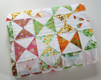Baby Girl Quilt, Triangle Quilt, Heather Ross Briar Rose, Hourglass Quilt