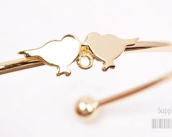 20% SALE// A316-01-G// Glossy Gold Plated Mini Birds Bangle Bracelets, 1set
