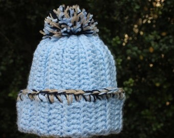 Blue Infant Hat soft and warm  light blue child 3 to 9 months Crochet