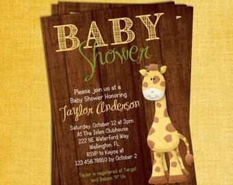 Giraffe Rustic Baby Shower Invitation Wood Design Invite