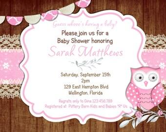 Rustic Pink Owl Girl Baby Shower Invitation Winter Snow Invite